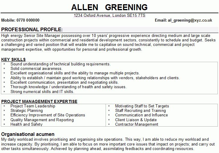 Construction Manager CV Samples