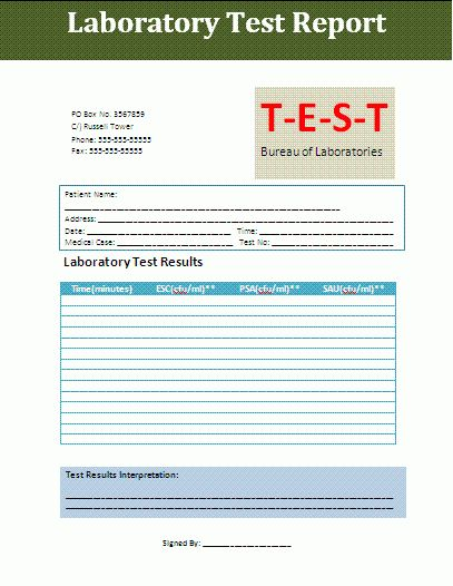 Test Report format | Free Report Templates