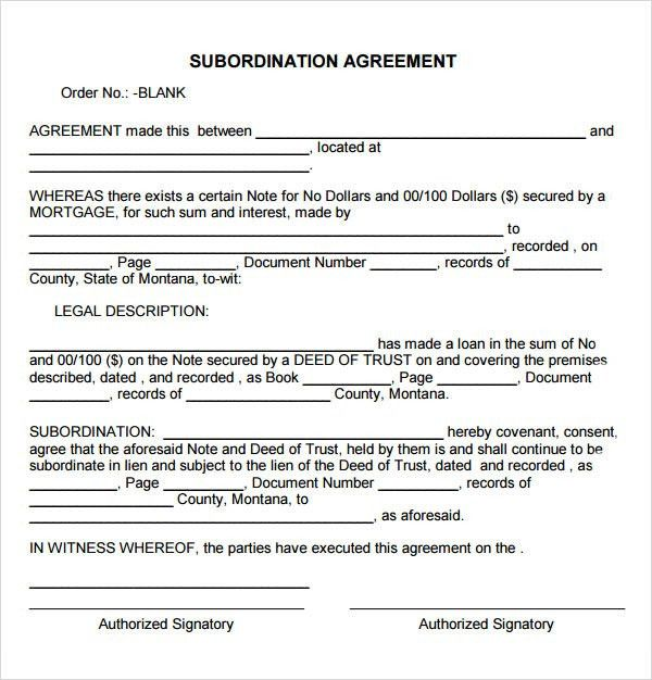 Sample Subordination Agreement - 7+ Free Documents Download in PDF