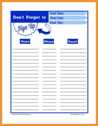 3+ printable sign up sheet | cook resume