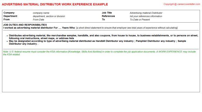 Advertising Material Distributor Job Title Docs