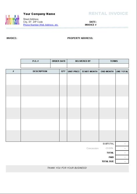 Download Rental Invoice Template 1.10