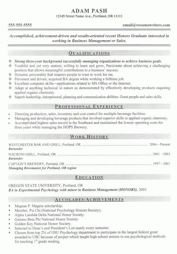 Brewmaster Resume Example: Sample Brewery Management Resumes