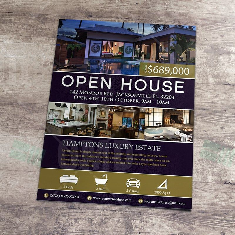 Elegant Open House Listing Property Template – Real Estate Lead ...