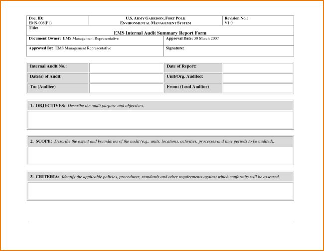 Audit Summary Template Summary Report Templates 9 Free Sample – Format for Audit Report