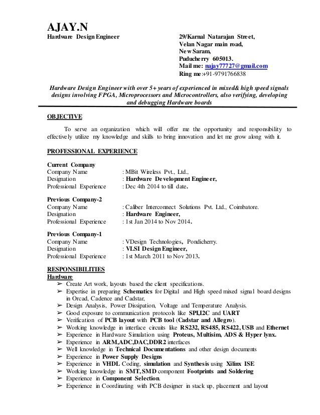 hardware design engineer. medical design engineer sample resume 14 ...