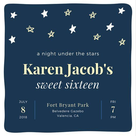 Under The Stars Birthday Invitation - Templates by Canva