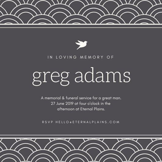 Gray Modern Pattern Bordered Funeral Invitation - Templates by Canva