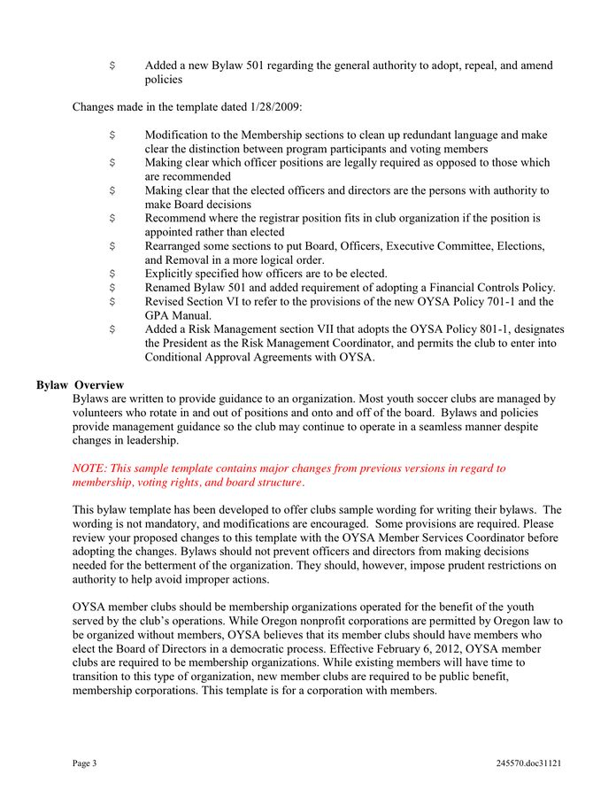 Club Bylaws Template in Word and Pdf formats - page 3 of 22