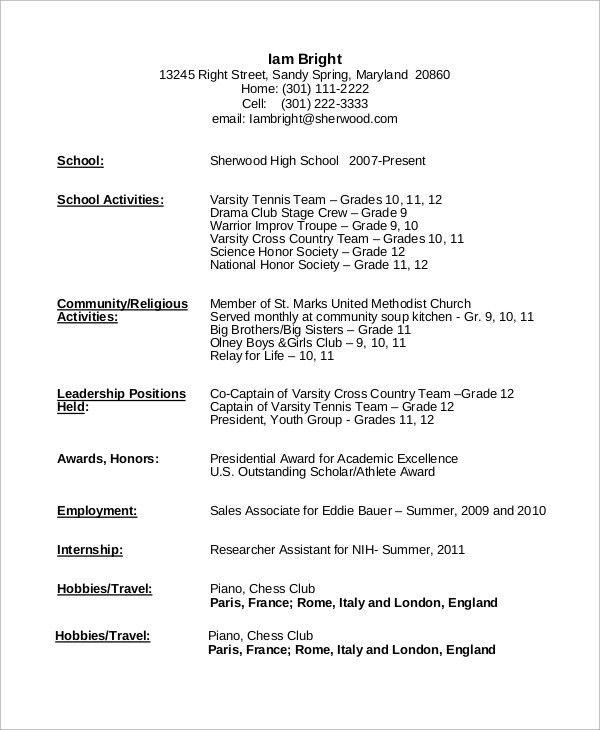 High School Resume Example - 8+ Samples in Word, PDF