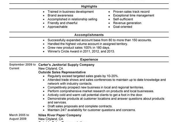 sales representative resume examples outside sales representative ...