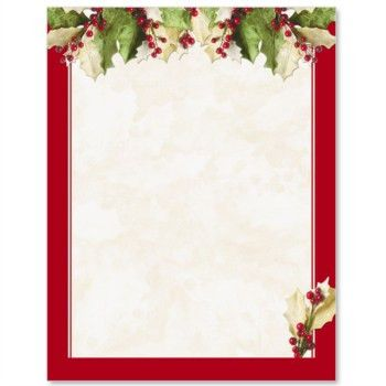 Holly Christmas Letterhead Border Papers | PaperDirect