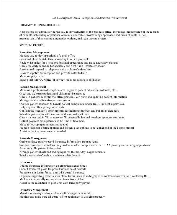 Sample Dental Assistant Job Description - 8+ Examples in PDF, Word