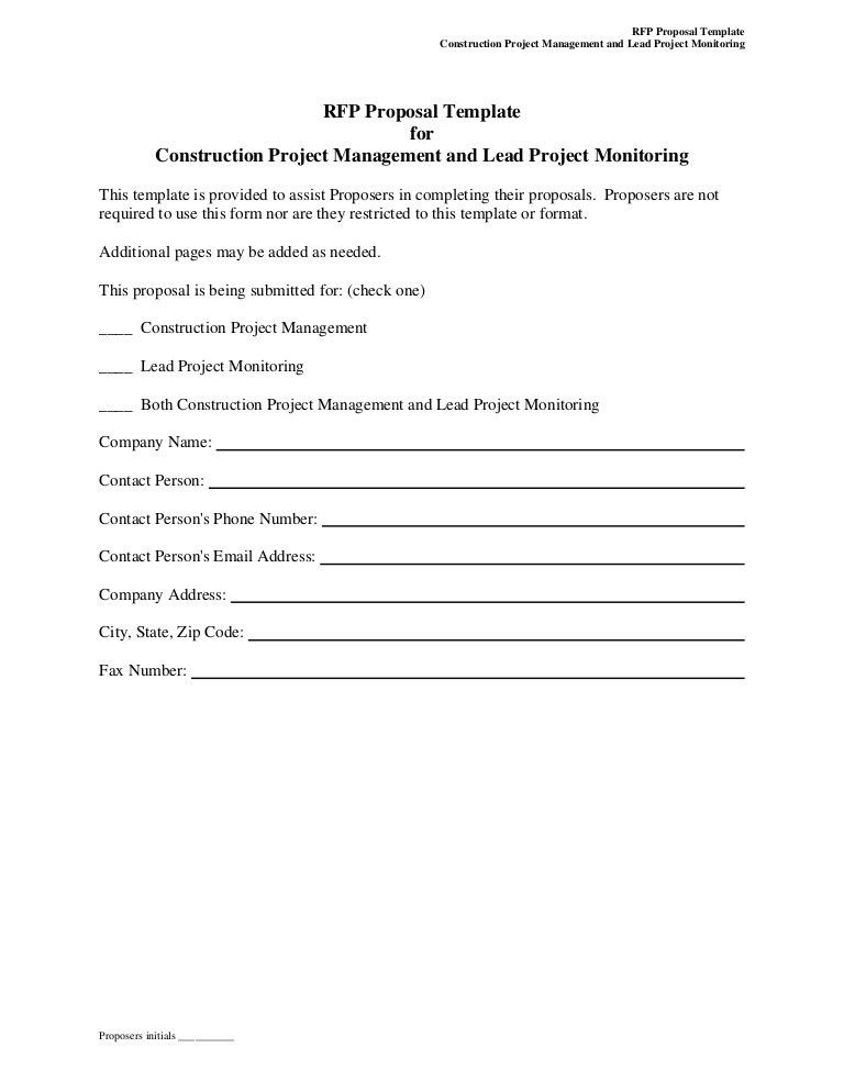 RFP Proposal Template for Construction Project Management and ...