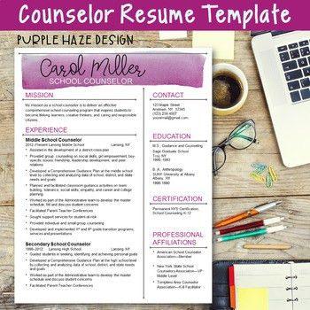 Counselor Resume Template--Purple Haze Design | Perfect resume ...