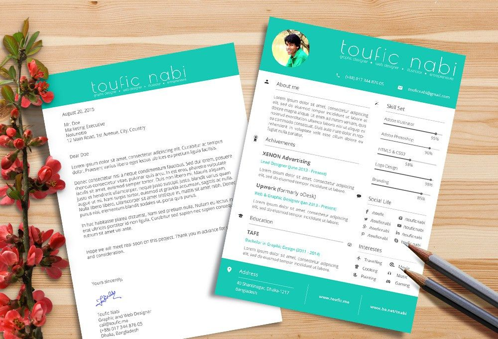 Free Resume Design Template & Cover Letter For Designers PSD File ...