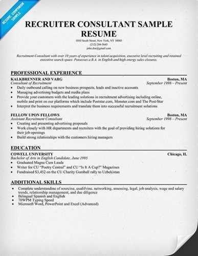 Recruiter Resume Objective