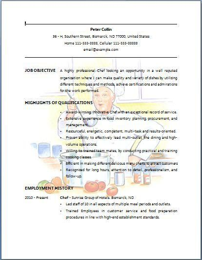 sous chef resume samples chef resume examples executive resume cv ...