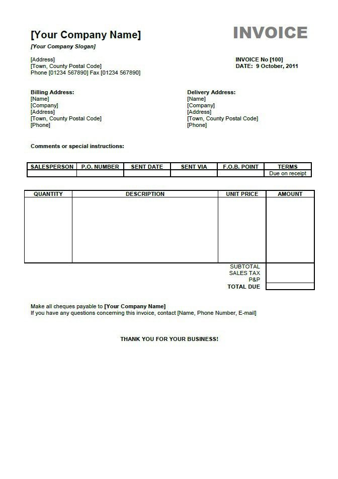 Free Sample Invoice Form | ... invoice template as pdf download ...