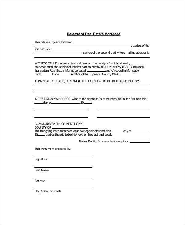 Mortgage Release Form. Downloads Letter Of Release Form 26 Gce ...