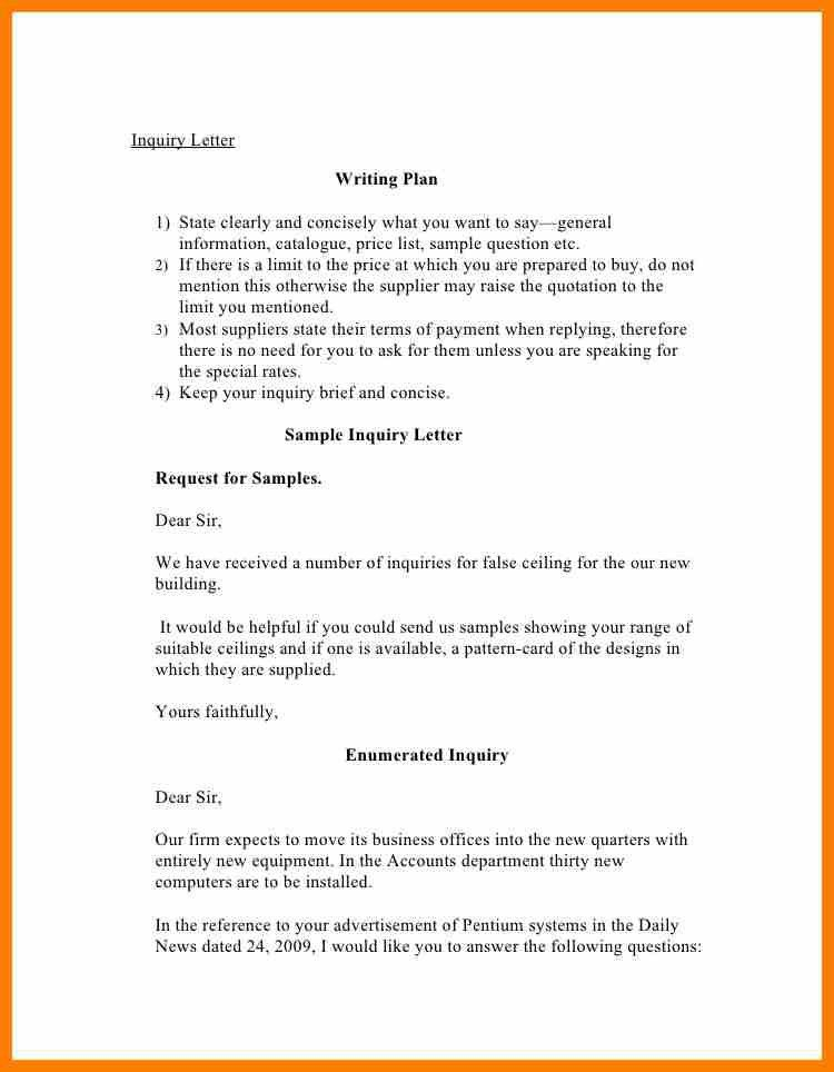 5+ enquiry letter for products | science-resume