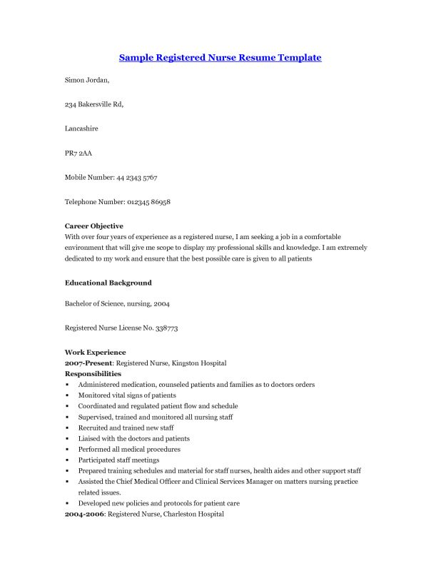 Resume experienced nurse resume examples