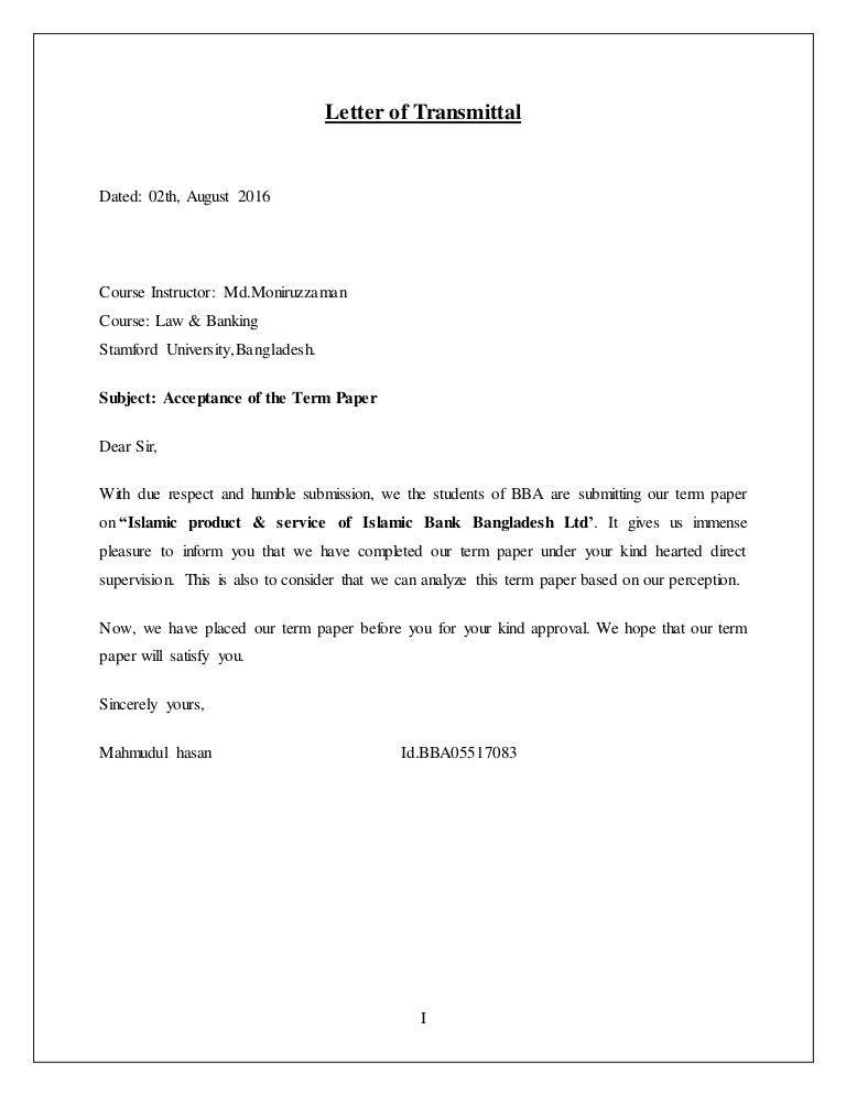 Letter of transmitter