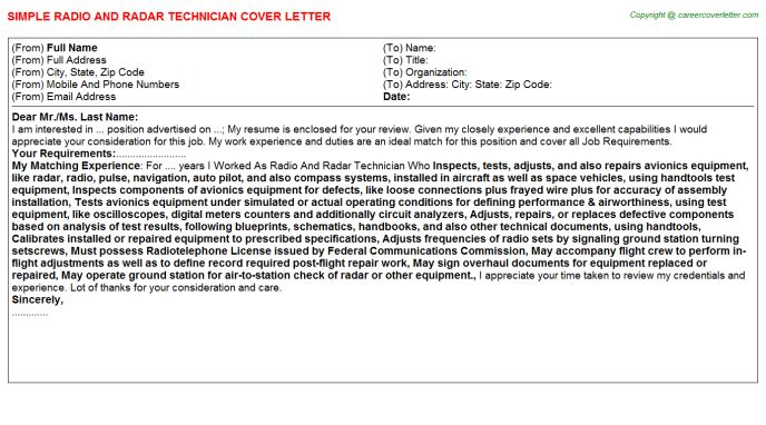 Assembly technician cover letter