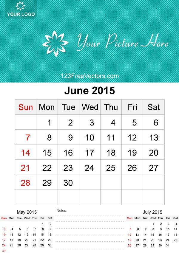 June 2015 Calendar Template Vector Free   123Freevectors