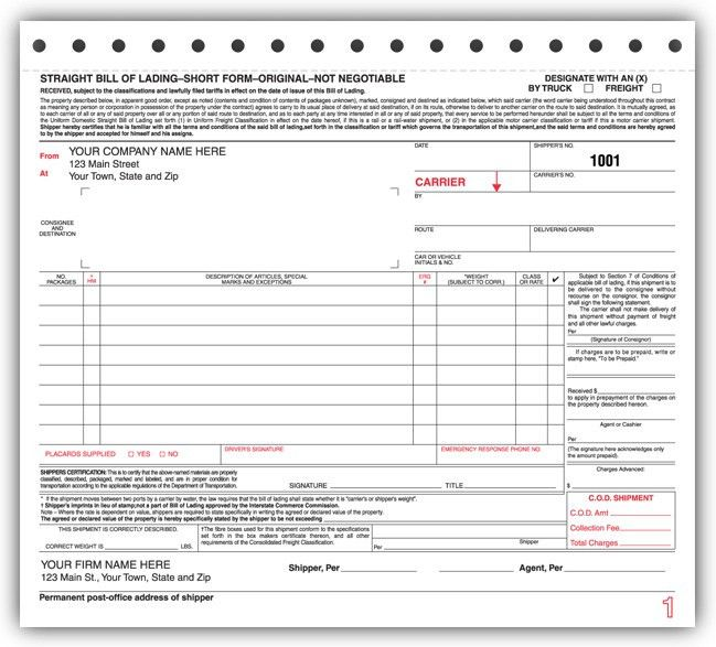 Standard Bills of Lading forms