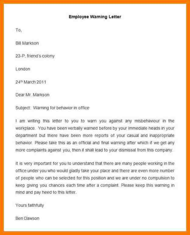 6+ warning letter to employee template | park-attendant