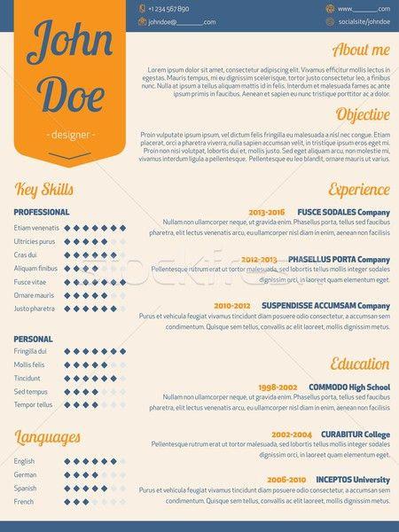 Modern resume cv with orange ribbon vector illustration © Mihaly ...