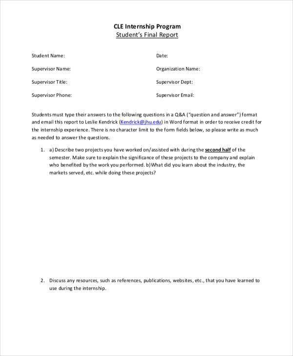 Internship Student Report Templates - 6+ Free Word, PDF Format ...