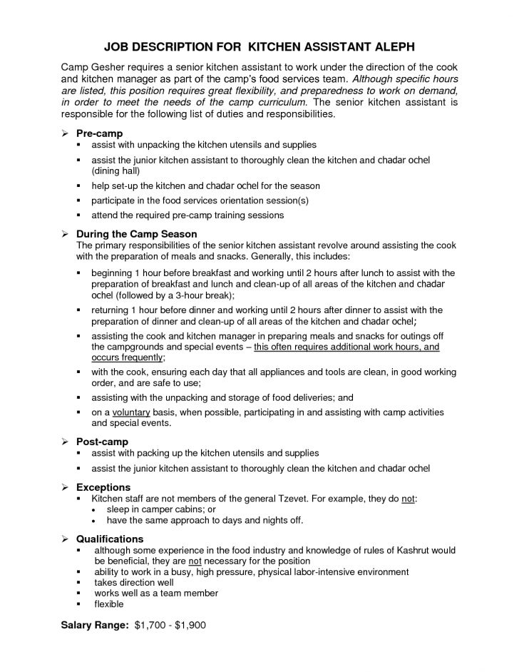 Job Description Dining Room Attendant  17001cz9  Photo In Server. Kitchen Manager Job Description  Kitchen Manager Resume Example