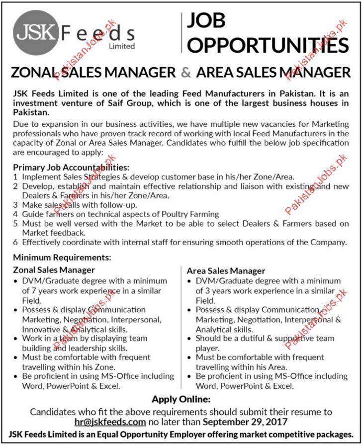 Zonal Sales Manager & Area Sales Manager Jobs - JSK Feeds Limited ...