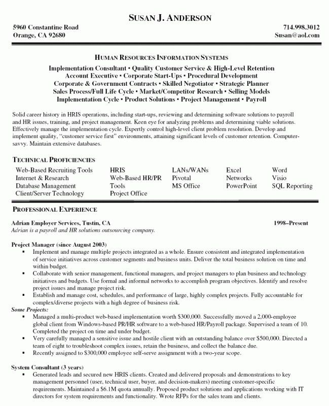 Resume Technical Project Manager Sample. download construction ...