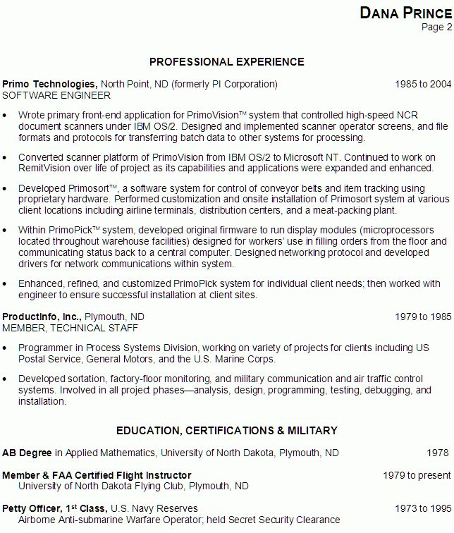 Resume for a Software Engineer / Programmer - Susan Ireland Resumes