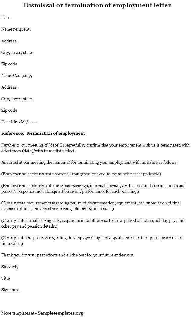 Employment Template Termination, Format of Termination of ...