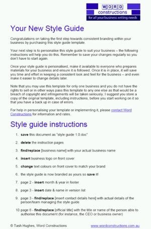 A corporate style guide template |