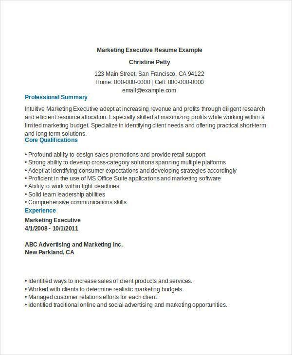 Free Executive Resume Templates - 34+ Free Word, PDF Documents ...