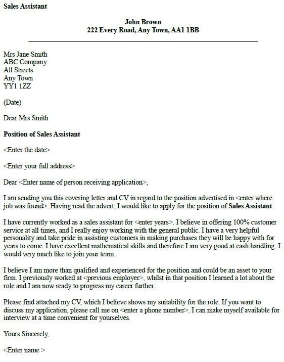 good cover letter example uk