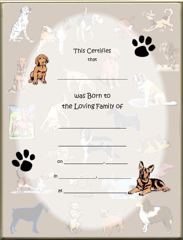 Keepsake Dog Birth 8.5 x 11 inch Certificate - Dog Collage Blank ...