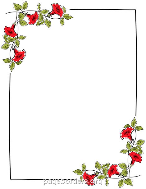 Printable floral border. Use the border in Microsoft Word or other ...