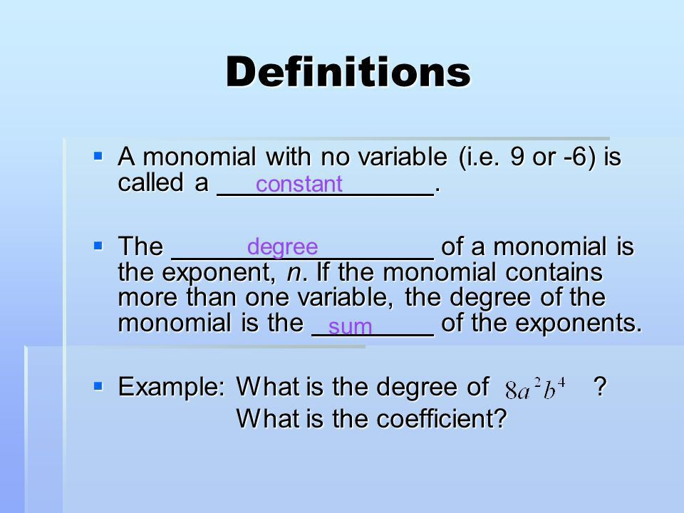 2.1 Sums and Differences of Polynomials - ppt download
