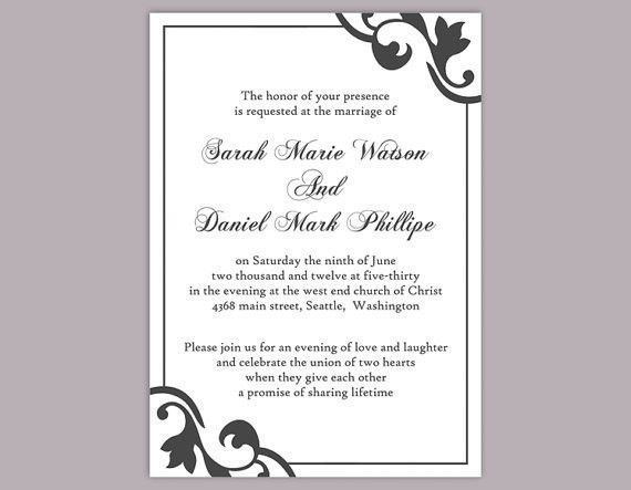 DIY Wedding Invitation Template Editable Word File Instant ...