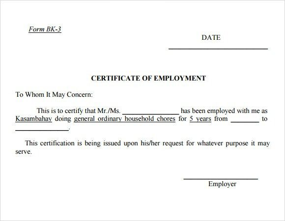 Employment Certificate Template - 9+ Download Free Documents in ...