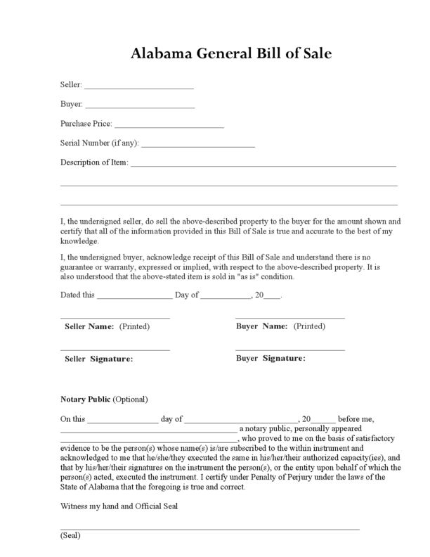 Alabama Bill of Sale Form | LegalForms.org