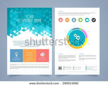 Creative two page business flyer, template or brochure design with ...
