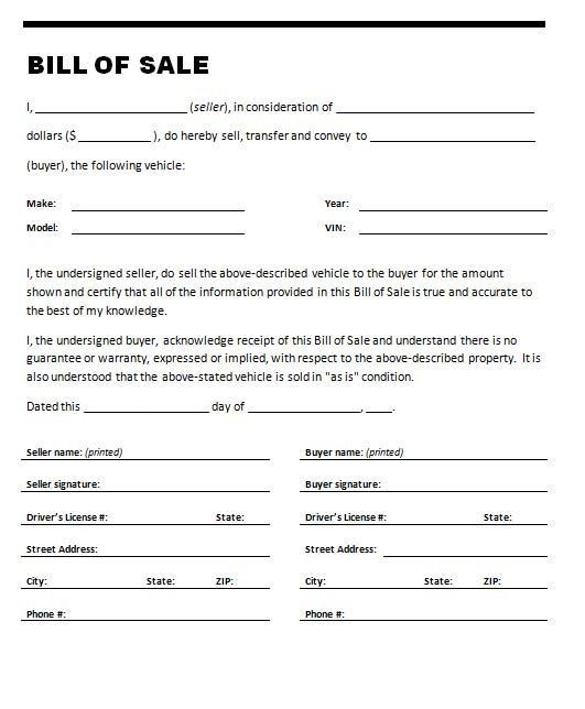 Printable Sample bill of sale templates Form | Forms and Template ...