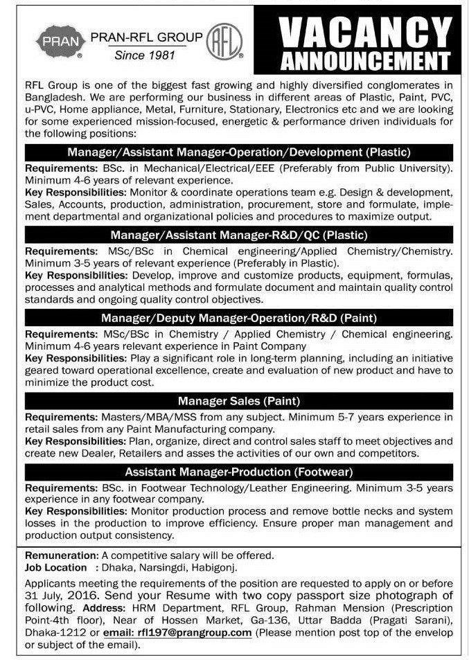 PRAN-RFL Group Job Circular – Zoombd24 Jobs